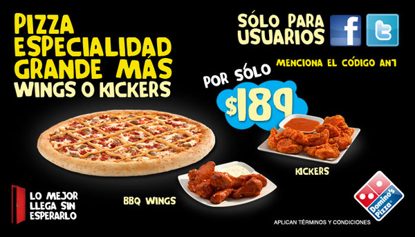 Promoción Domino's Pizza. Error en su promoción al pedirla me causó molestia. Su Social Media, CRM y Operación están mal?